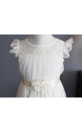 Illusion Neckline Short Sleeve A-line Pleated Tulle Short Dress With Floral Sash