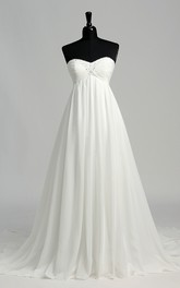 A-line Sweetheart Sleeveless Floor-length Chiffon Wedding Dress with Court Train