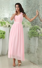 Chiffon Ankle-Length Dress With Criss-Cross Ruching