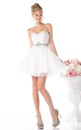 A-Line Sweetheart Tulle Satin Backless Dress With Appliques And Waist Jewellery
