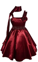 Sleeveless A-line Taffeta Dress With Beadings and Pleats