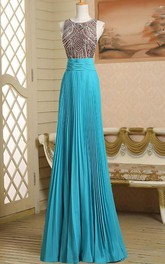 Round Neck A-Line Beading Ruched Long Prom Dress