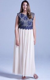 Long Cap-Sleeved Chiffon Fabulous Dress With Lace Bodice