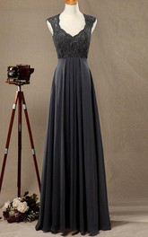 Floor-length Strapped Chiffon&Lace&Satin Dress
