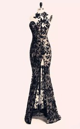 Floor-length Sleeveless Open Back Bateau Lace Sexy Modern Bodycon Zipper Lace Evening Dress