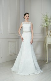 Trumpet Floor-Length Jewel-Neck Sleeveless Corset-Back Lace Dress With Sash And Beading