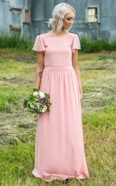 Simple Chiffon Bateau-neck Floor Length Bridesmaid Dress