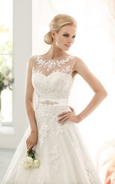 Long Sleeveless A-line Lace Wedding Dress With Beaded Sash