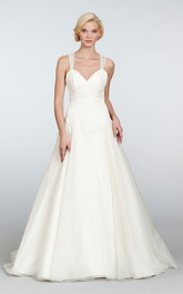 Glamorous Draped Lace Bodice a Line Gown With Crisscross Back and Bow Detail