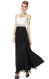 Sweetheart Chiffon Gown With Pleats and Beadings