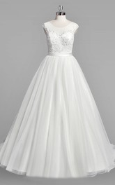 Scoop Neck Cap Sleeve A-Line Tulle Wedding Dress With Beaded Bodice