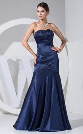 Strapless Sheath Satin Appliqued Dress With Backless Style