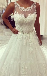 Elegant Illusion Tulle Lace Appliques Wedding Dress 2018 Zipper Button Back