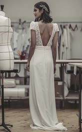 Plunging Cute Puff Sleeve Open Back Lace And Satin Wedding Dress