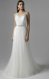 A-Line Scoop Appliqued Sleeveless Floor-Length Tulle Wedding Dress With Waist Jewellery And Pleats
