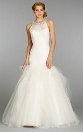 Elegant Lace Bodice Organza Tulle Dress With Crystal Embellished Neckline