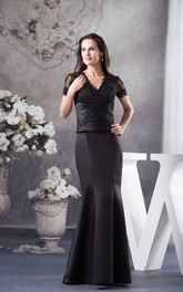 V-Neck Mermaid Satin Mini-Sleeve Illusion and Dress With Appliques