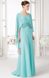 V-Neck Poet Sleeve Beaded Chiffon Prom Dress With Ruching And Brush Train