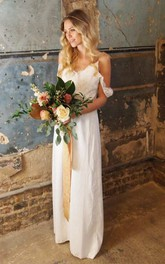 Casual Sheath Chiffon Spaghetti Wedding Dress With Lace Top