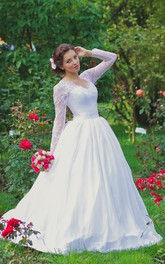 Long Illusion Sleeve Queen Anne Neckline A-Line Tulle Gown