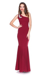 Crystal One Shoulder Jersey Mermaid Long Dress Pleated Skirt
