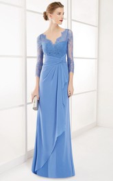 Sheath Maxi 3-4-Sleeve Lace V-Neck Chiffon Prom Dress With Draping