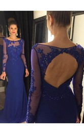 Elegant Lace Appliques Sequined Evening Dress 2018 Mermaid Long Sleeve