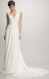 Long V-Neck Ruched Chiffon Wedding Dress With Court Train And V Back
