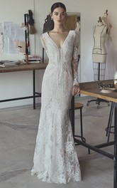 Sexy Mermaid Bohemian Illusion Long Sleeve Lace Bridal Gown With Plunging