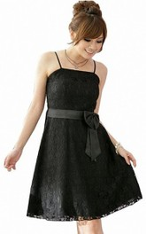 Spaghetti Straps A-line Lace Dress With Sash