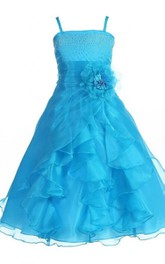 Sleeveless A-line Organza Dress With Sequins and Flower