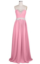 Sweetheart Pleated Beaded A-line Gown With Lace-up Back