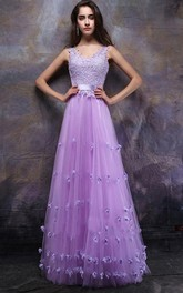 Glorious Straps A-Line Appliques Floor-Length Prom Dress