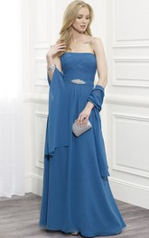 Strapless Ruched Chiffon Mother Of The Bride Dress With Waist Jewellery And Cape