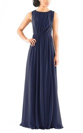 Sleeveless Long Chiffon Bridesmaid Dress with Ruching