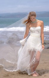 A-Line Sweetheart Lace Dress With See-Through Tulle Skirt