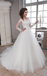 A-Line Long Off-The-Shoulder Long-Sleeve Illusion Tulle Dress With Appliques And Pleats