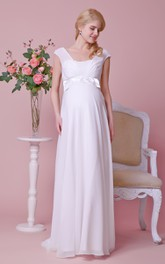 Cap-sleeved Empire Waist A-line Chiffon Floor Length Dress With Front Bow