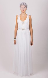 Sleeveless Chiffon A-Line Gown With Lace Embellishment and Pleated Skirt