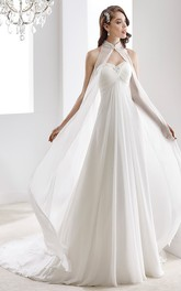 High-Neck Sweetheart Draping Chiffon Wedding Dress With Crisscross Bust And Beaded Details