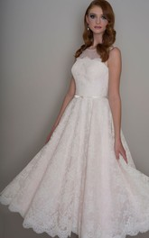 A-Line Appliqued Sleeveless Long Scoop Lace Wedding Dress With Illusion Back