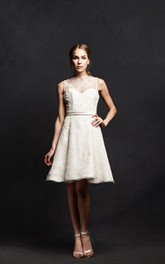 Sleeveless Illusion Neck Satin Dress With Ribbon