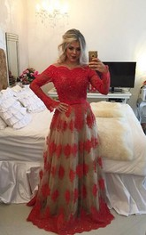 Modern Off-the-shoulder Red Prom Dress 2018 Lace Long Sleeve