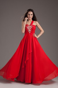 Alluring Sleeveless One Shoulder a Line Chiffon Satin Special Occasion Dresses