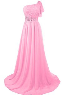 One-shoulder Petal Chiffon A-line Gown With Beaded Band