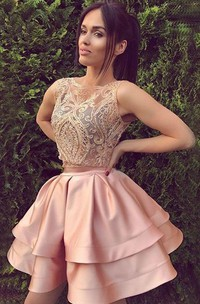 A-line Ball Gown Sleeveless Satin Lace Bateau Short Mini Homecoming Dress