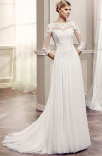 Bateau Floor-Length Beaded Half Sleeve Tulle Wedding Dress