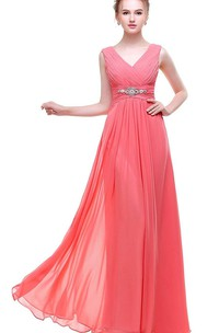Pink Empire V-neck Beaded A-line Chiffon Dress With Low-v Back