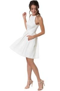 1efa25538b A-Line Jewel Sleeveless Maxi Little White Dress With Zipper Back ...