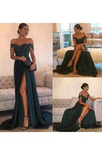 Off-the-shoulder A-line Floor-length Court Train Sleeveless Jersey Lace Evening Dress with Zipper Back